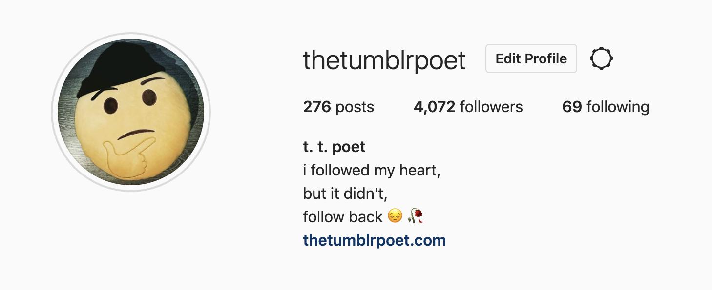 @thretumblrpoet Instagram profile and bio